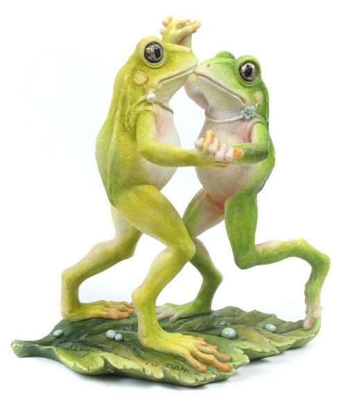 Dancing frogs, porcelain sculpture