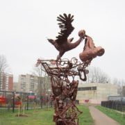 Forged sculpture of a stork, leaving its nest with a baby appeared 20 October 2012. Sculptor Sergey Melnikov
