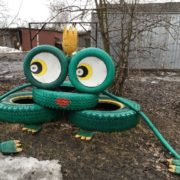 Garden sculpture - frog in Varnitsy, homeland of saint Sergey of Radonezh