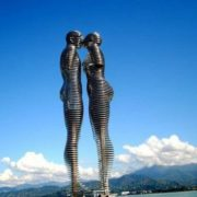 Giant construction of 'Ali and Nino' in Batumi. Moving, the figures approach each other, as if kissing, and then again diverge. They change the position every 10 minutes