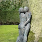 In the Keukenhof flower park, the Netherlands. Monument to kissing lovers