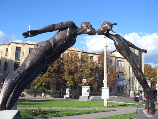 Kharkov, Ukraine. Monument to kissing lovers
