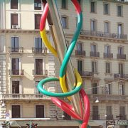 Needle and thread monument in Milan, Italy
