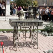 Novosibirsk, Russia, sewing machine monument
