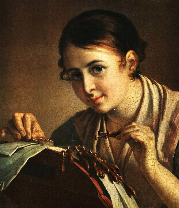 Painting by Vasily Tropinin, Russian artist 'Lacemaker'. 1847