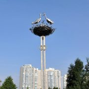 The family of storks in the nest, monument in St. Petersburg
