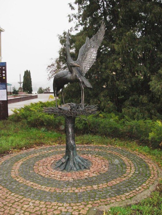 Ternopol, Ukraine. Monument to the Stork, bringing children