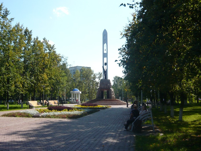 The view of the square with a memorial complex