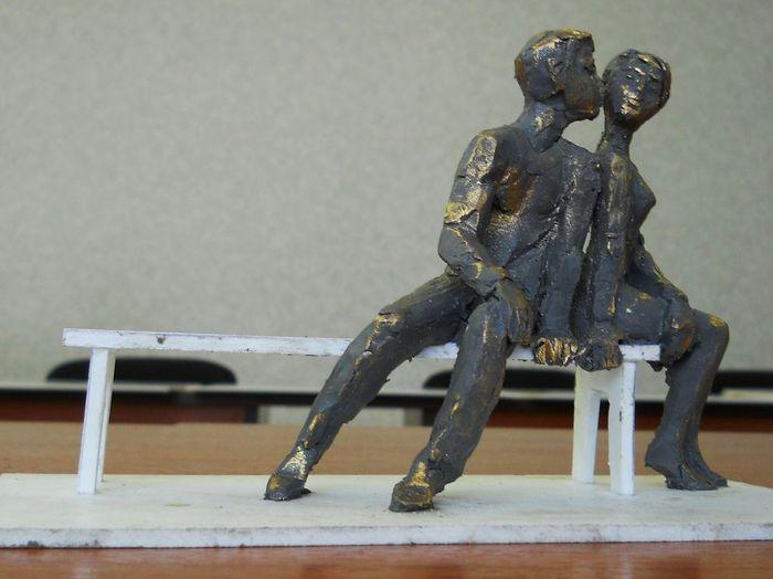 Zarechny, Sverdlovsk Region, Russia. Monument to kissing lovers