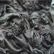 Closeup, fragment of monument to Vyacheslav Tikhonov