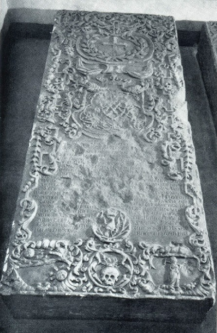 Tombstone of DG Rzhevskaya. 1720s. Marble. Petersburg. Annunciation burial vault of the Alexander Nevsky Lavra. Unknown wizard