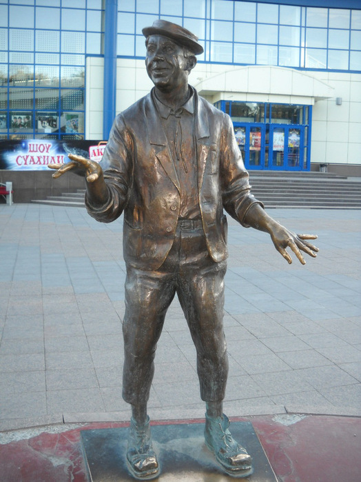 Tyumen, Russia. Legendary Russian clown Yuri Nikulin monuments