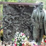 Miraculous Christ tombstone sculpture at the Novodevichy Cemetery