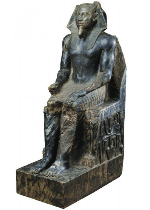 A perfectly preserved statue of Khafre from a dark green diorite. A masterpiece of ancient Egyptian art, accurately conveying the image of the ruler who died a thousand years ago
