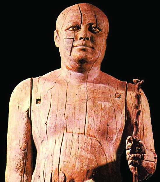 Repository of the soul - Egyptian Ancient Realistic Sculpture. Fragment of wooden statue of Prince Kaaper, or 'village head'
