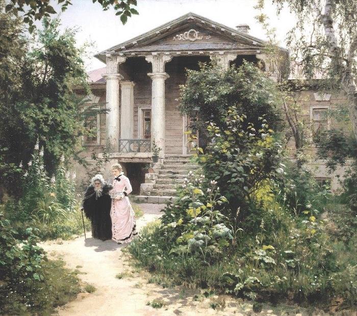 Granny's garden. 1878. Tretyakov gallery