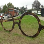 Huge glasses monument in Kolomna, Moscow region