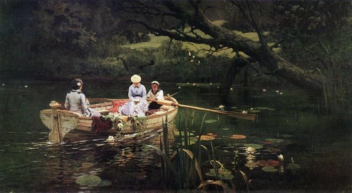 In the boat. Abramtsevo. 1880