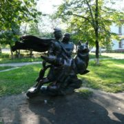 Izyum, the Kharkov area, Ukraine. Monument to the heroes of the fairy tale Ivan Tsarevich and the Gray Wolf