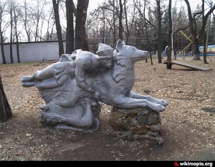 Kharkov, Ukraine. Monument to the heroes of the fairy tale Ivan Tsarevich and the Gray Wolf