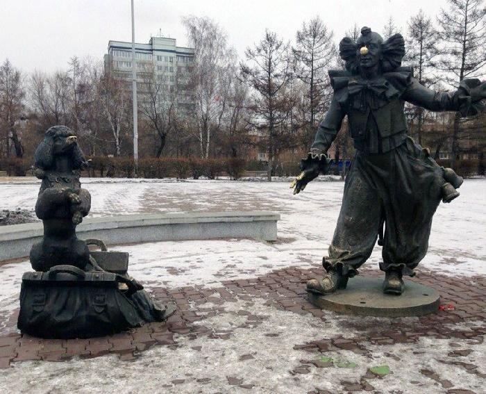 Krasnoyarsk, clown sculpture