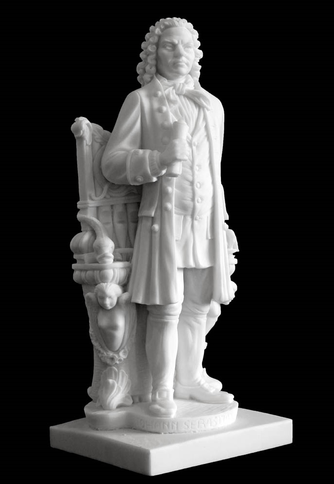 Marble sculpture of the most famous blind - German composer Johann Sebastian Bach. Photo - mramorme