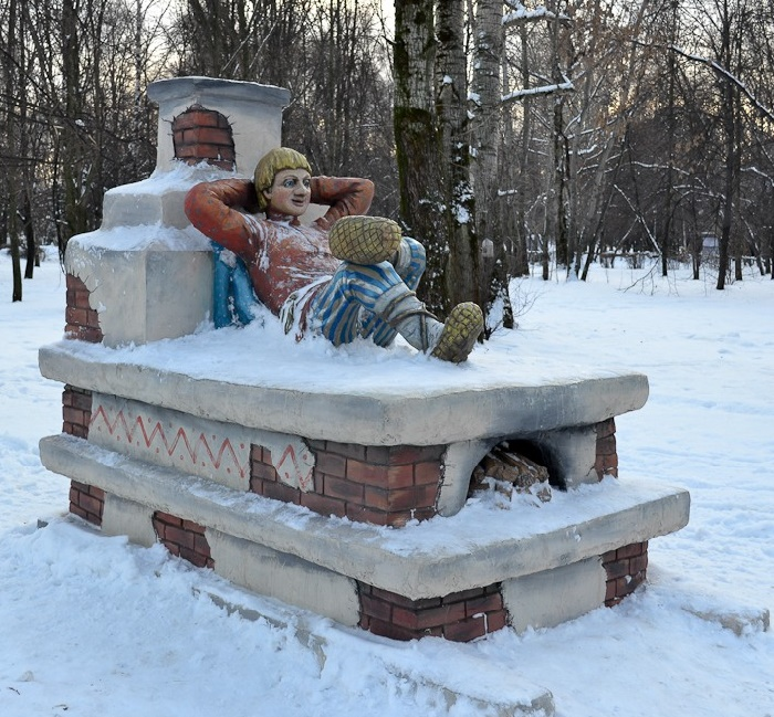 The literature character, view in winter, somewhere in the parks of Moscow