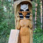 Slavic deities wooden sculpture in Togliatti