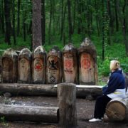Some people come here just to enjoy these sculptures and the silence of the forest