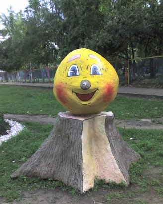 Wooden sculpture of Kolobok in Naberezhnye Chelny, Russia