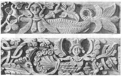 Ancient Russian wood sculpture, the carved wood. Motives of the siren and bird-Sirin, variants. The Middle-Volga District