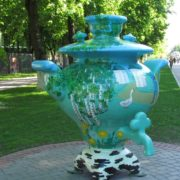 Beautiful samovar decorates the park area