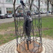 Caged Sirin, work by Novgorod sculptor Vyacheslav Smirnov