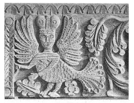 Detail of wooden architecture. The motif of the mytholigical bird Sirin. The Middle-Volga District
