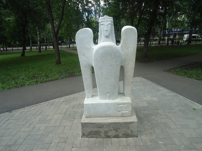 Mythological bird Sirin in Sterlitamak