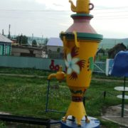 The village of Gabdrakhmanovo, Tatarstan, Russia. Samovar monument