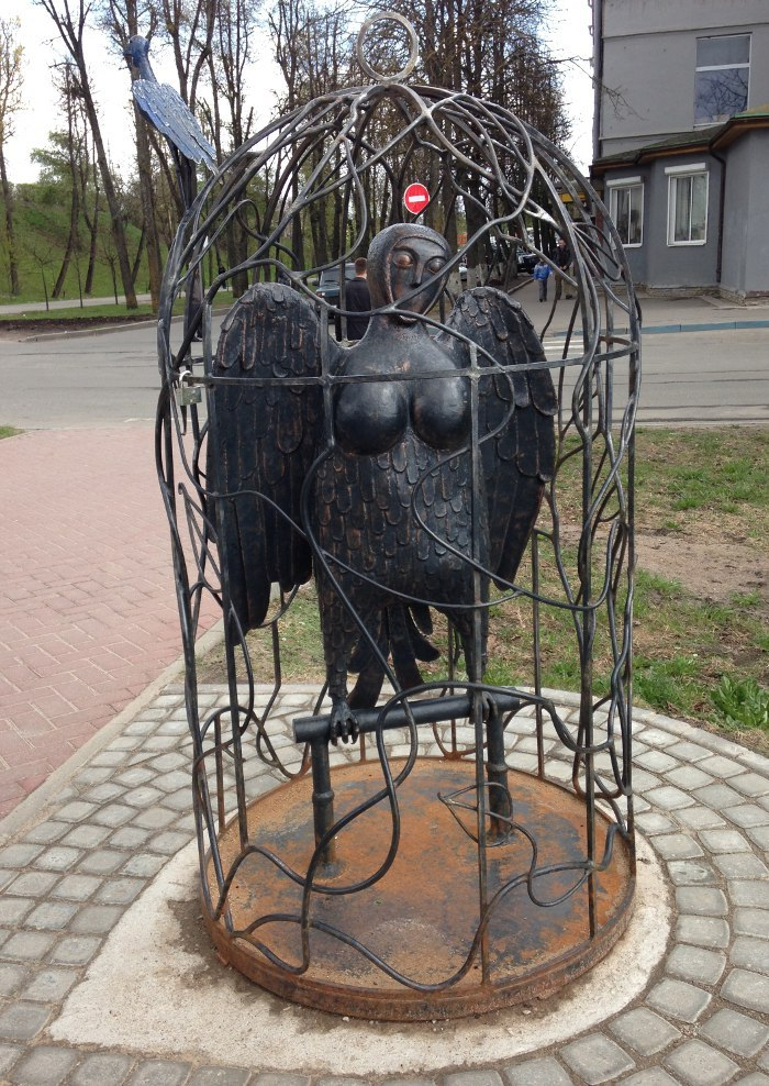 Veliky Novgorod, Russia. A monument to Sirin