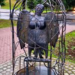 Tired Tourist Girl Monument in Veliky Novgorod