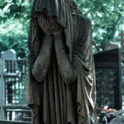 Weeping and mourning, sculpture in the cemetery Vvedenskoye