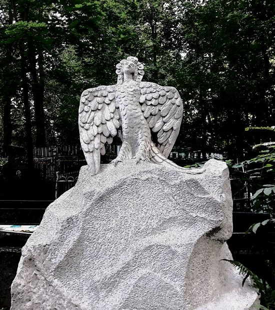Work by famous sculptor Sergei Konenkov. Mythological bird Sirin monuments