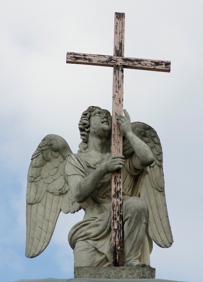 The sculpture of angel on the Lutheran Church of St. Peteri