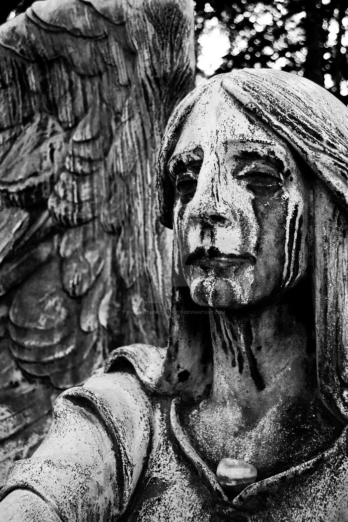 Detail of black angel Haserot monument