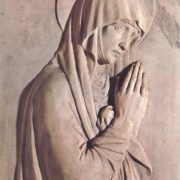 Fragment of the tombstone of the bishop Benozzo Federigi. 1453. Marble and glazed terracotta. Santa Trinita, Florence