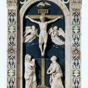 The crucifixion of 1465 Terracotta, glaze. Santa Maria, Impruneta