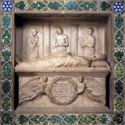The tombstone of the bishop Benozzo Federigi. 1453. Marble and glazed terracotta. Santa Trinita, Florence