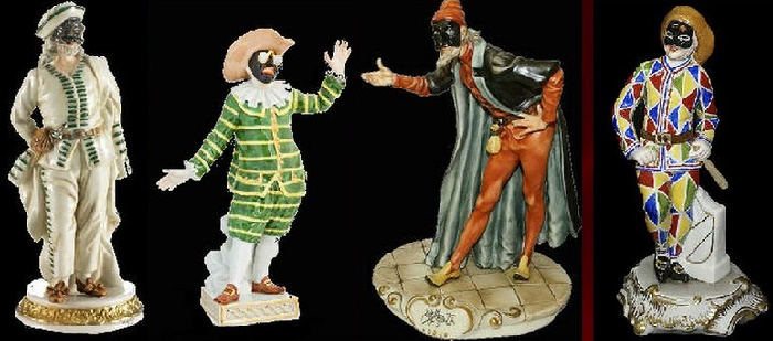 Brighella, Tartaglia, Pantalone and Truffaldino in Carlo Gozzi's fairy tale about the princess Turandot. Developed in the XVIII century, modern porcelain figurines