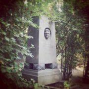 Geographer, biologist, academician Lev Semenovich Berg (1876-1950). Granite stele with high relief portrait. Sculptor V. Ya. Bogolyubov, 1954