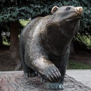 Bronze sculpture of a bear located in Perm. Sculptor Vladimir Pavlenko. According to belief, one should rub its nose for good luck