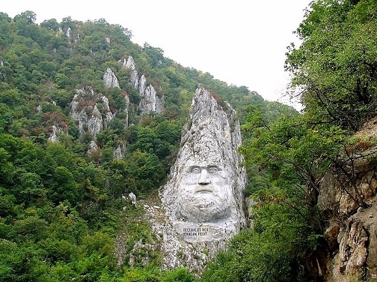 Decebalus face unique rock carved sculpture