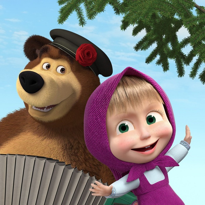 Famous Russian cartoon characters Masha and Bear